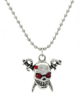 Red Crystals Skull & Swords Pendant  Necklace